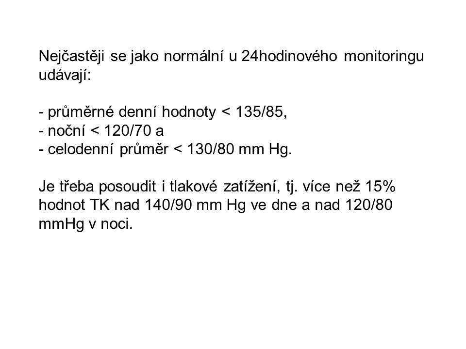 Nejčastěji se jako normální u 24hodinového monitoringu udávají: - průměrné denní hodnoty < 135/85, - noční < 120/70 a - celodenní průměr < 130/80 mm H