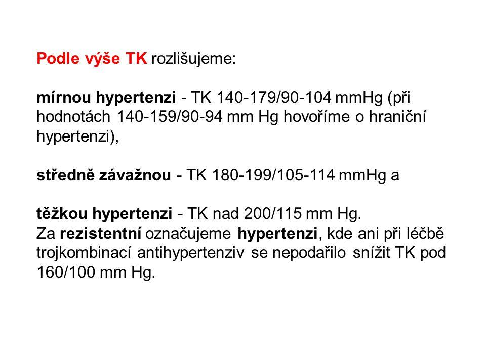 Podle výše TK rozlišujeme: mírnou hypertenzi - TK 140-179/90-104 mmHg (při hodnotách 140-159/90-94 mm Hg hovoříme o hraniční hypertenzi), středně záva