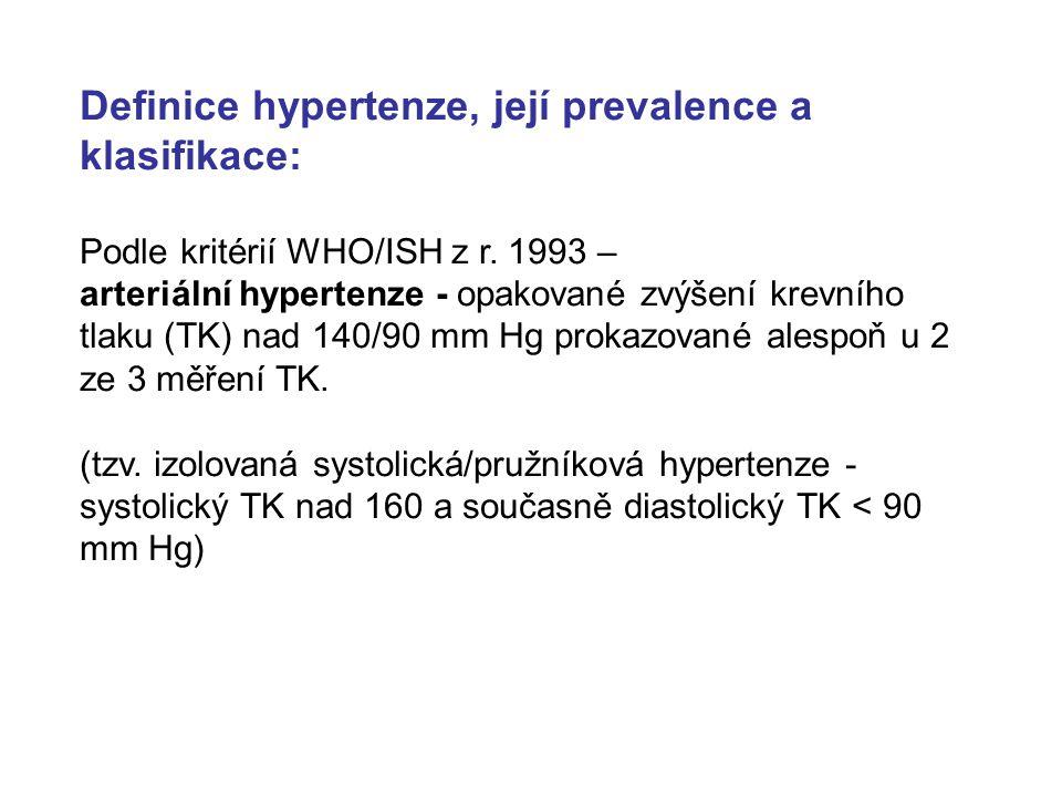 Definice hypertenze, její prevalence a klasifikace: Podle kritérií WHO/ISH z r. 1993 – arteriální hypertenze - opakované zvýšení krevního tlaku (TK) n