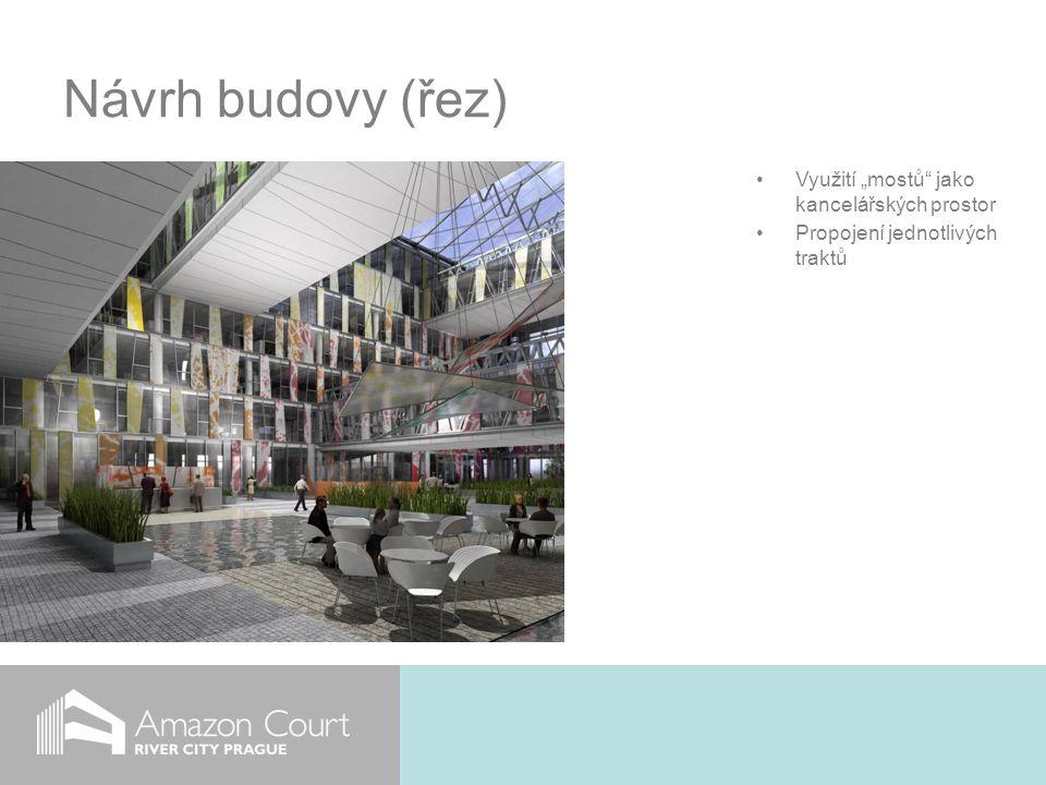 """Návrh budovy (řez) Využití """"mostů jako kancelářských prostor Propojení jednotlivých traktů"""