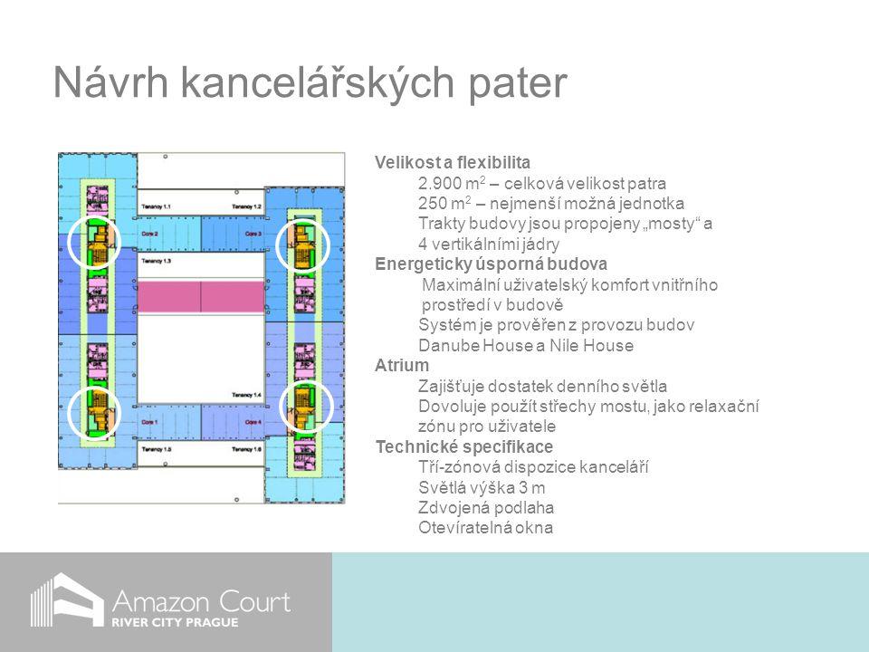 """Návrh kancelářských pater Velikost a flexibilita 2.900 m 2 – celková velikost patra 250 m 2 – nejmenší možná jednotka Trakty budovy jsou propojeny """"mosty a 4 vertikálními jádry Energeticky úsporná budova Maximální uživatelský komfort vnitřního prostředí v budově Systém je prověřen z provozu budov Danube House a Nile House Atrium Zajišťuje dostatek denního světla Dovoluje použít střechy mostu, jako relaxační zónu pro uživatele Technické specifikace Tří-zónová dispozice kanceláří Světlá výška 3 m Zdvojená podlaha Otevíratelná okna"""