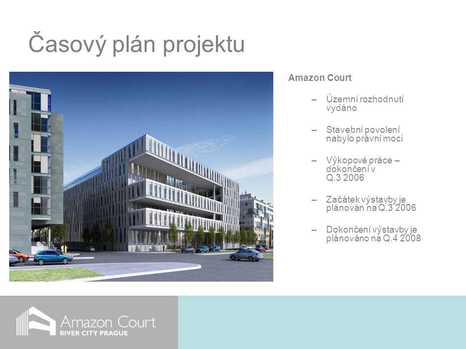 Časový plán projektu Amazon Court –Územní rozhodnutí vydáno –Stavební povolení nabylo právní moci –Výkopové práce – dokončení v Q.3 2006 –Začátek výstavby je plánován na Q.3 2006 –Dokončení výstavby je plánováno na Q.4 2008