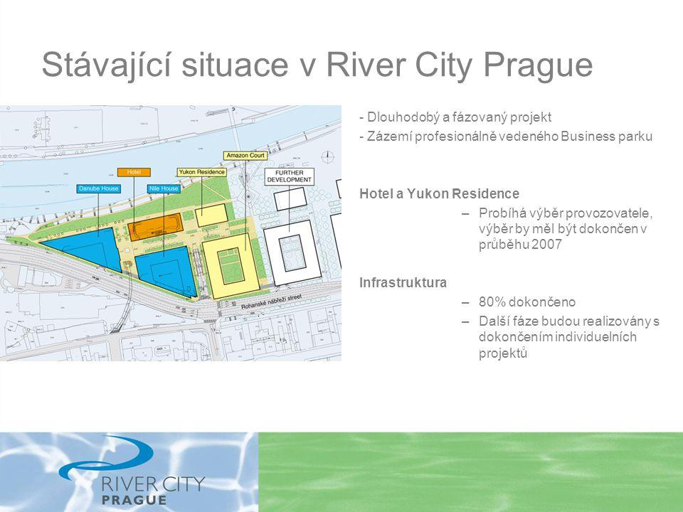 Stávající situace v River City Prague - Dlouhodobý a fázovaný projekt - Zázemí profesionálně vedeného Business parku Hotel a Yukon Residence –Probíhá výběr provozovatele, výběr by měl být dokončen v průběhu 2007 Infrastruktura –80% dokončeno –Další fáze budou realizovány s dokončením individuelních projektů