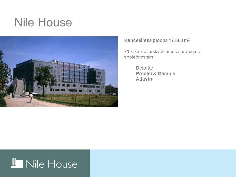Nile House Kancelářská plocha 17.600 m 2 71% kancelářských prostor pronajato společnostem: Deloitte Procter & Gamble Adastra
