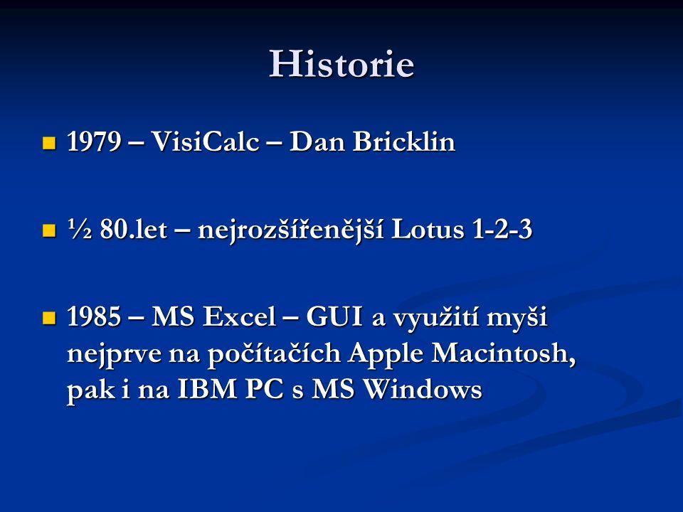 Historie 1979 – VisiCalc – Dan Bricklin 1979 – VisiCalc – Dan Bricklin ½ 80.let – nejrozšířenější Lotus 1-2-3 ½ 80.let – nejrozšířenější Lotus 1-2-3 1