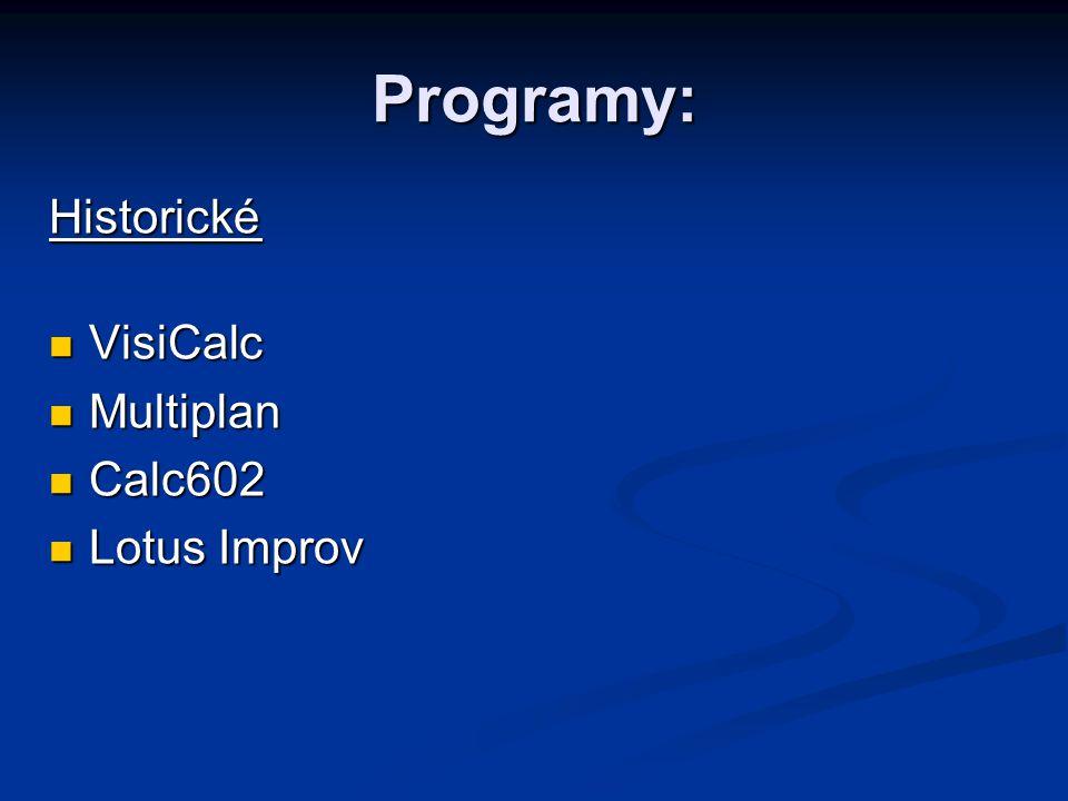 Programy: Historické VisiCalc VisiCalc Multiplan Multiplan Calc602 Calc602 Lotus Improv Lotus Improv