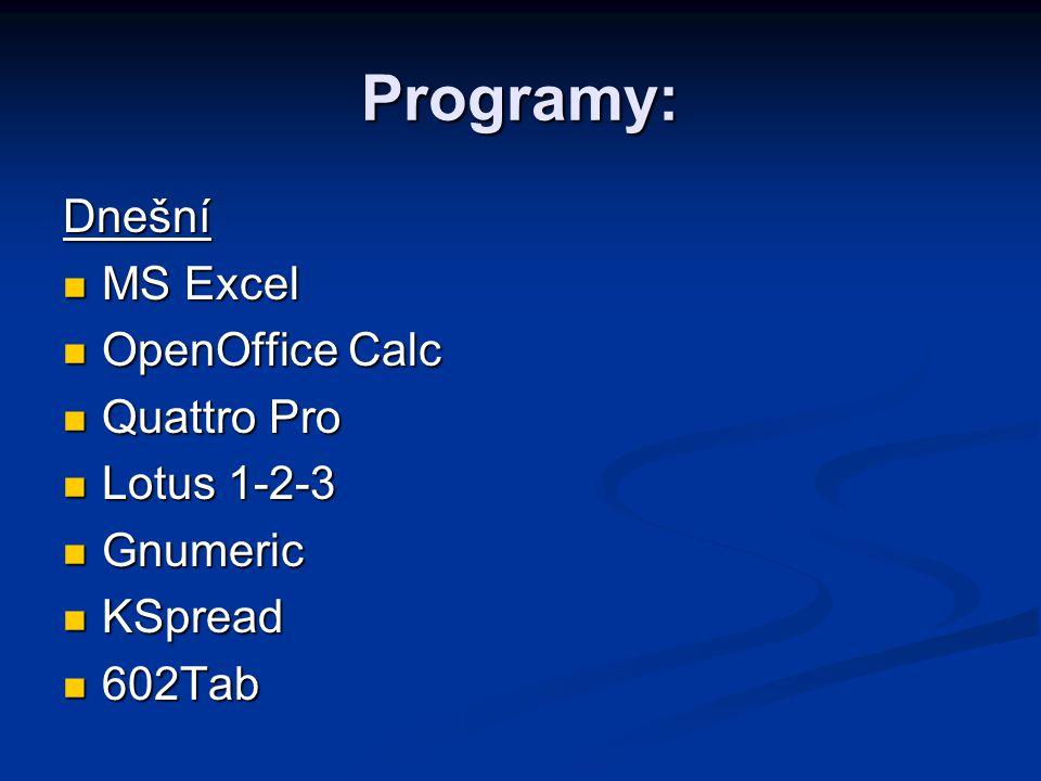 Programy: Dnešní MS Excel MS Excel OpenOffice Calc OpenOffice Calc Quattro Pro Quattro Pro Lotus 1-2-3 Lotus 1-2-3 Gnumeric Gnumeric KSpread KSpread 6