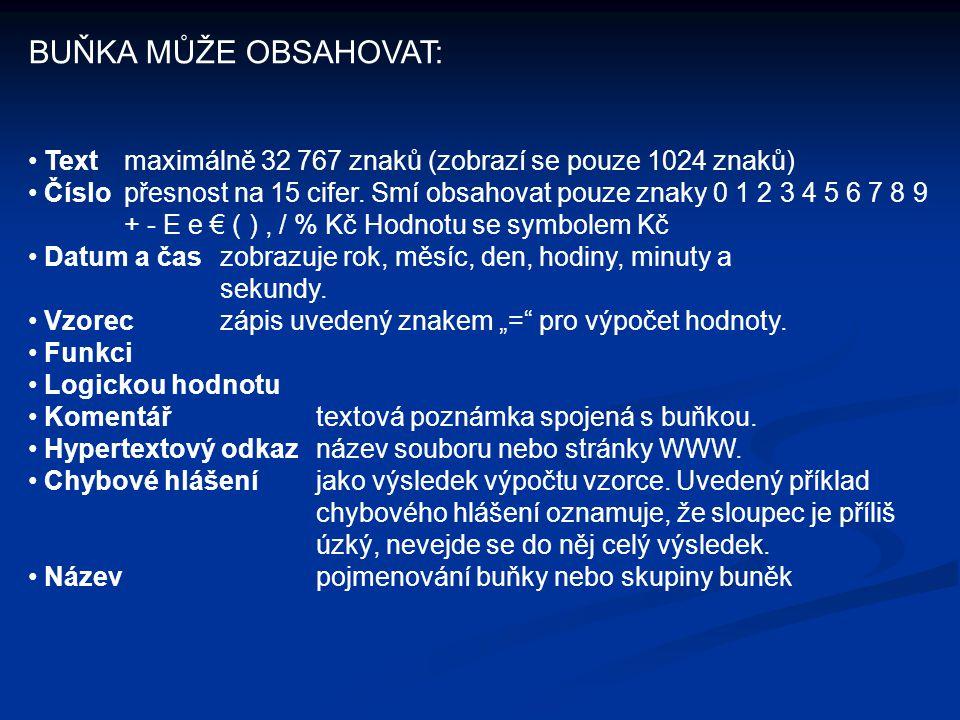 BUŇKA MŮŽE OBSAHOVAT: Textmaximálně 32 767 znaků (zobrazí se pouze 1024 znaků) Číslo přesnost na 15 cifer. Smí obsahovat pouze znaky 0 1 2 3 4 5 6 7 8