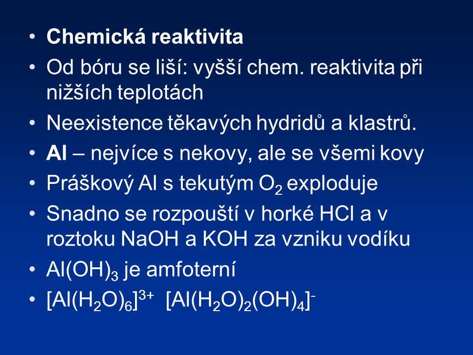 Chemická reaktivita Od bóru se liší: vyšší chem.