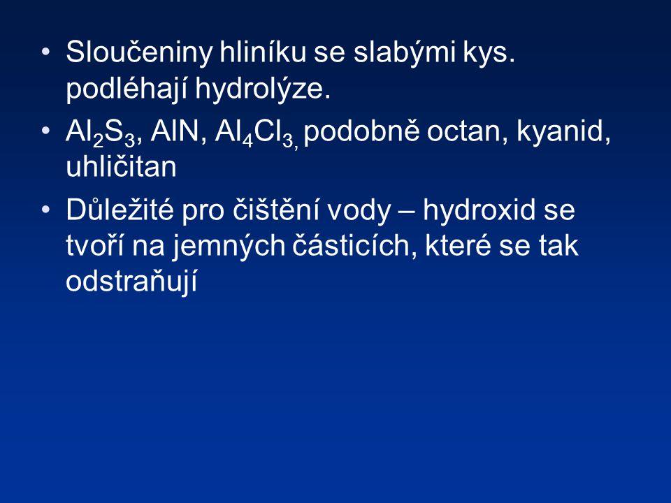 Sloučeniny hliníku se slabými kys.podléhají hydrolýze.