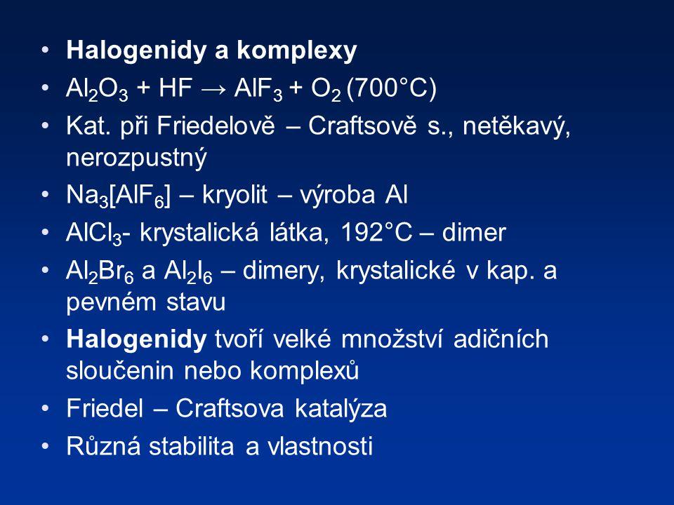 Halogenidy a komplexy Al 2 O 3 + HF → AlF 3 + O 2 (700°C) Kat.