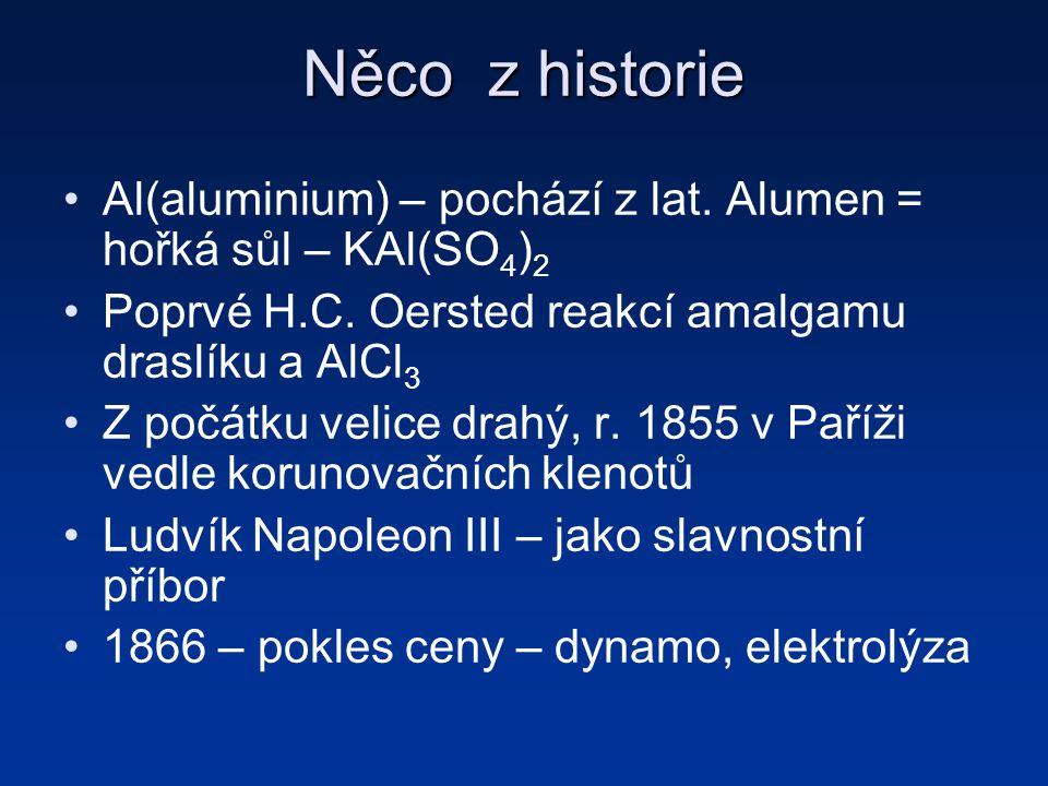 Něco z historie Al(aluminium) – pochází z lat.Alumen = hořká sůl – KAl(SO 4 ) 2 Poprvé H.C.