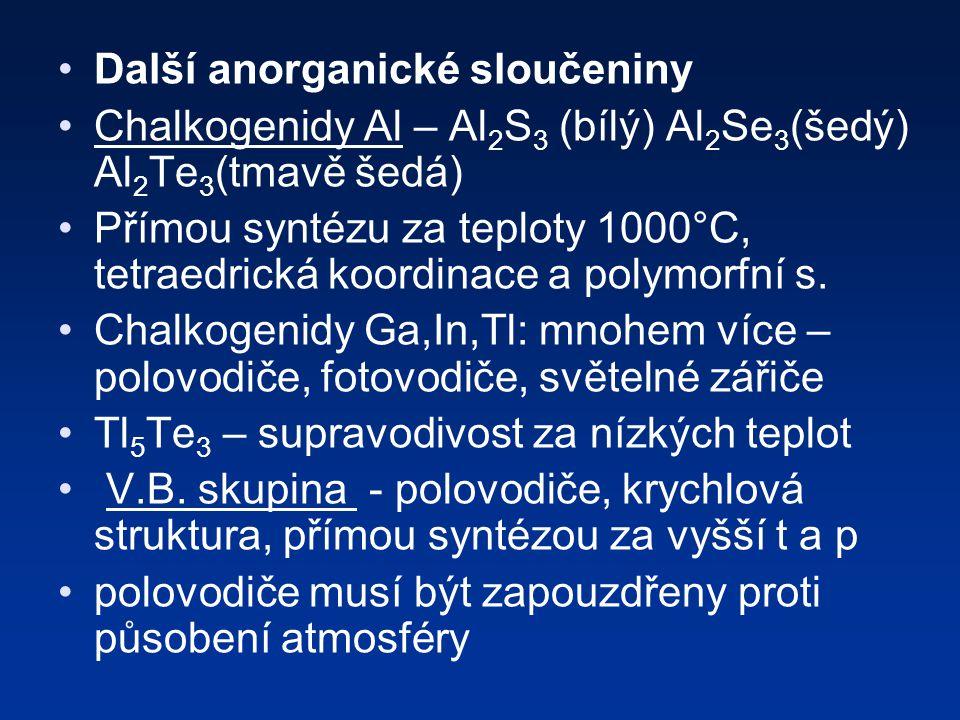 Další anorganické sloučeniny Chalkogenidy Al – Al 2 S 3 (bílý) Al 2 Se 3 (šedý) Al 2 Te 3 (tmavě šedá) Přímou syntézu za teploty 1000°C, tetraedrická koordinace a polymorfní s.