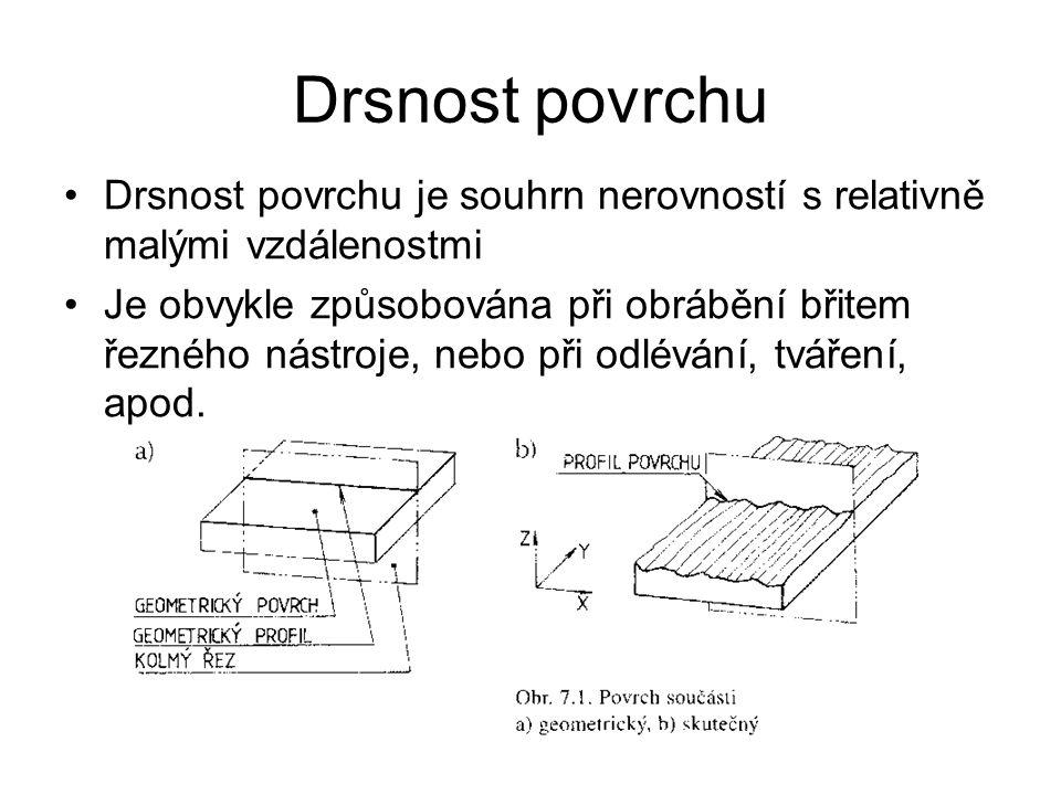 Drsnost povrchu Drsnost povrchu je souhrn nerovností s relativně malými vzdálenostmi Je obvykle způsobována při obrábění břitem řezného nástroje, nebo