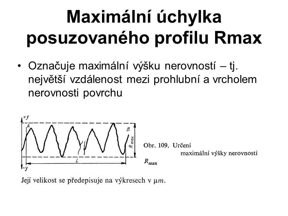 Maximální úchylka posuzovaného profilu Rmax Označuje maximální výšku nerovností – tj. největší vzdálenost mezi prohlubní a vrcholem nerovnosti povrchu