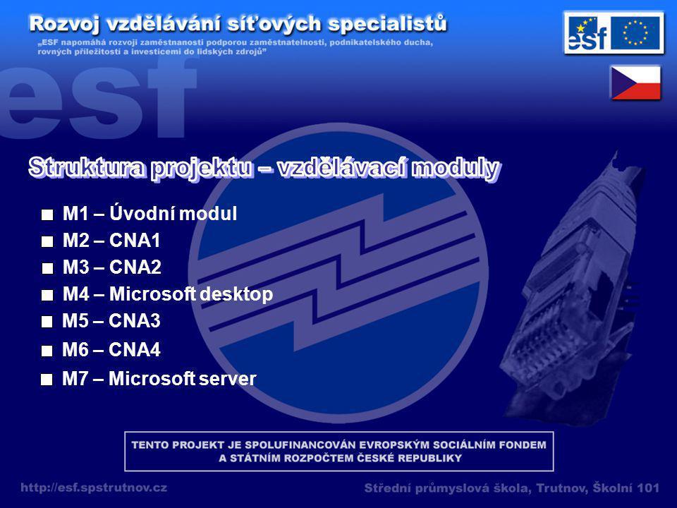 M1 – Úvodní modul M2 – CNA1 M3 – CNA2 M4 – Microsoft desktop M5 – CNA3 M6 – CNA4 M7 – Microsoft server