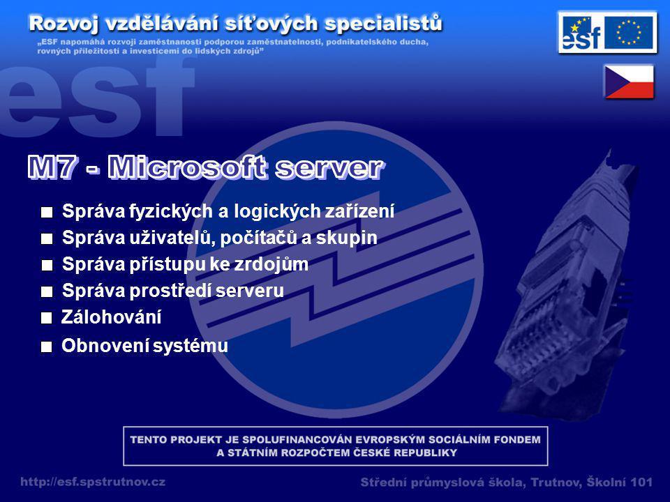 Správa fyzických a logických zařízení Správa uživatelů, počítačů a skupin Správa přístupu ke zrdojům Správa prostředí serveru Zálohování Obnovení systému