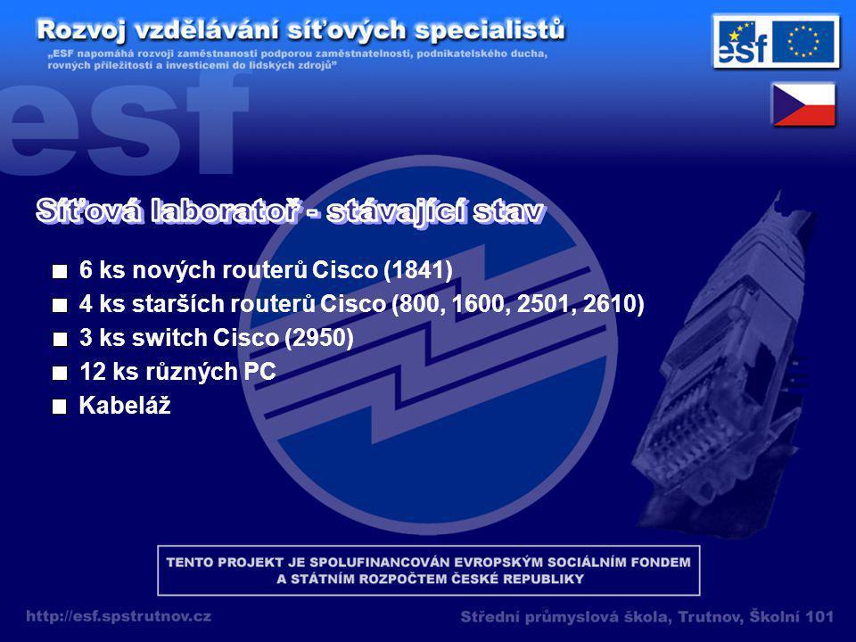 6 ks nových routerů Cisco (1841) 4 ks starších routerů Cisco (800, 1600, 2501, 2610) 3 ks switch Cisco (2950) 12 ks různých PC Kabeláž