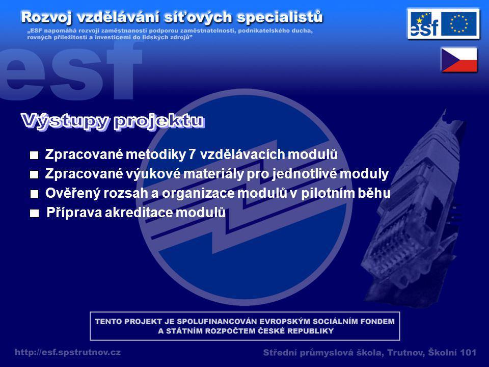Zpracované metodiky 7 vzdělávacích modulů Zpracované výukové materiály pro jednotlivé moduly Ověřený rozsah a organizace modulů v pilotním běhu Příprava akreditace modulů