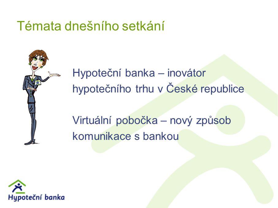 Shrnutí Hypoteční banka pokračuje v inovacích hypotečního trhu Hypoteční banka představuje Virtuální pobočku jednoduchou, pohodlnou a bezpečnou cestu k částečnému nebo úplnému sjednání hypotéky v komfortním čase a z pohodlí domova naprosto bez obav!