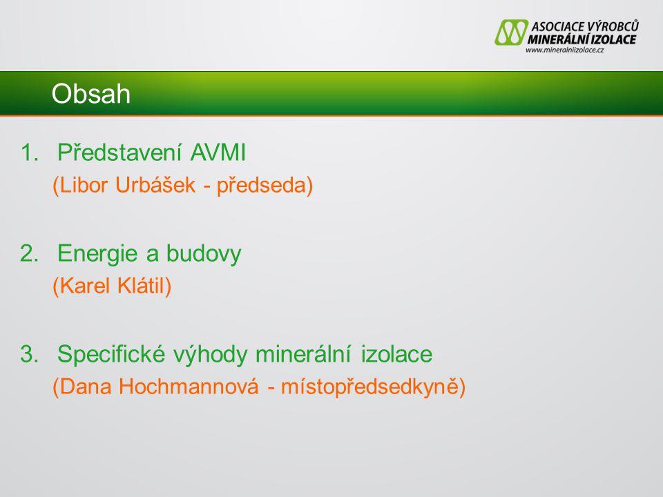 Obsah 1.Představení AVMI (Libor Urbášek - předseda) 2.Energie a budovy (Karel Klátil) 3.Specifické výhody minerální izolace (Dana Hochmannová - místopředsedkyně)