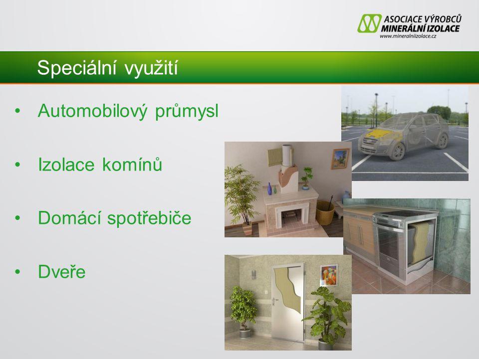 Speciální využití Automobilový průmysl Izolace komínů Domácí spotřebiče Dveře