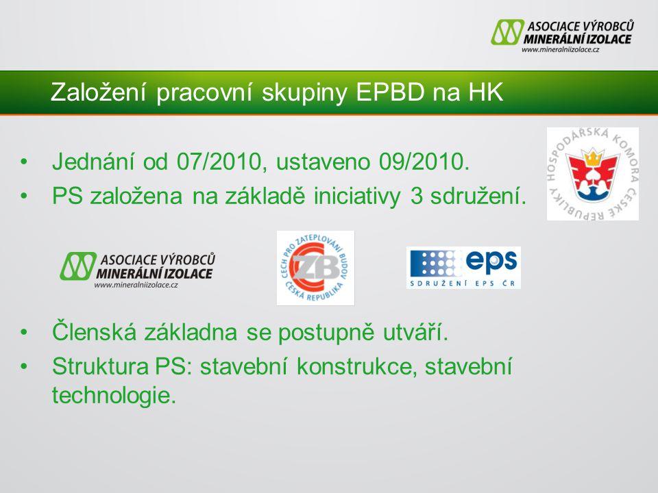 Založení pracovní skupiny EPBD na HK Jednání od 07/2010, ustaveno 09/2010.