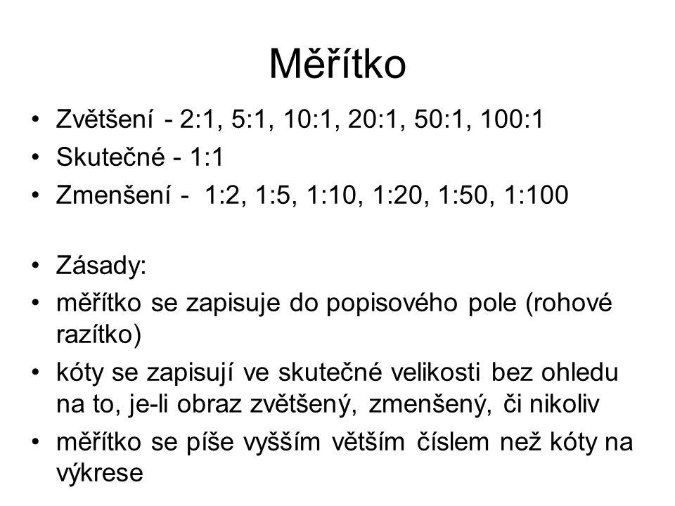 Měřítko Zvětšení - 2:1, 5:1, 10:1, 20:1, 50:1, 100:1 Skutečné - 1:1 Zmenšení - 1:2, 1:5, 1:10, 1:20, 1:50, 1:100 Zásady: měřítko se zapisuje do popiso