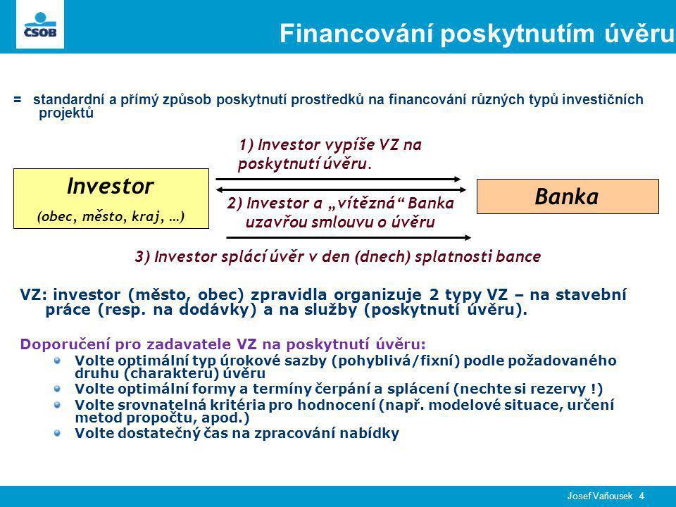 Josef Vaňousek 4 Financování poskytnutím úvěru = standardní a přímý způsob poskytnutí prostředků na financování různých typů investičních projektů Investor (obec, město, kraj, …) Banka 1) Investor vypíše VZ na poskytnutí úvěru.