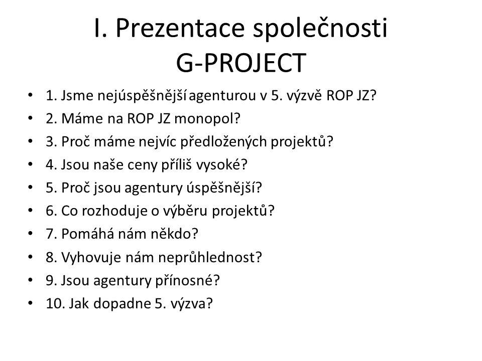 I. Prezentace společnosti G-PROJECT 1. Jsme nejúspěšnější agenturou v 5.