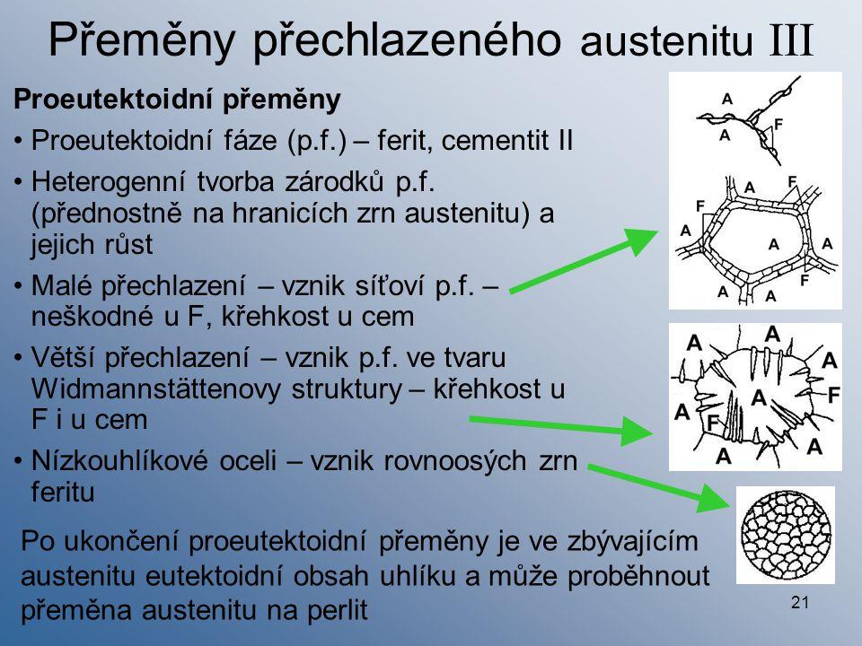 21 Přeměny přechlazeného austenitu III Proeutektoidní přeměny Proeutektoidní fáze (p.f.) – ferit, cementit II Heterogenní tvorba zárodků p.f. (přednos