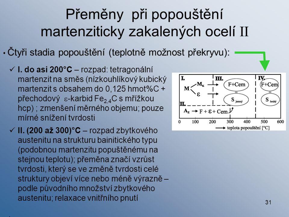 31 Přeměny při popouštění martenziticky zakalených ocelí II I. do asi 200°C – rozpad: tetragonální martenzit na směs (nízkouhlíkový kubický martenzit