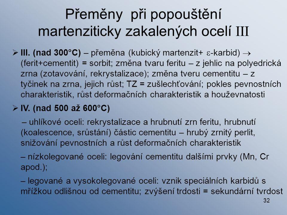 32  III. (nad 300°C) – přeměna (kubický martenzit+  -karbid)  (ferit+cementit) = sorbit; změna tvaru feritu – z jehlic na polyedrická zrna (zotavov