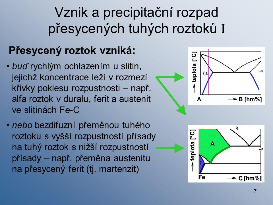 8 Vznik a precipitační rozpad přesycených tuhých roztoků II Důvody a průběh rozpadu přesyceného tuhého roztoku: Přesycený tuhý roztok je nerovnovážný Soustavy (slitiny) mají snahu existovat v rovnovážném stavu (max S, min G) Rozpad posouvá přesycený tuhý roztok směrem k rovnováze Precipitace (kontinuální) – proces, při němž probíhá: difuze atomů přísadového prvku mřížkou přesyceného tuhého roztoku hromadění atomů přísad ve vhodných místech (např.