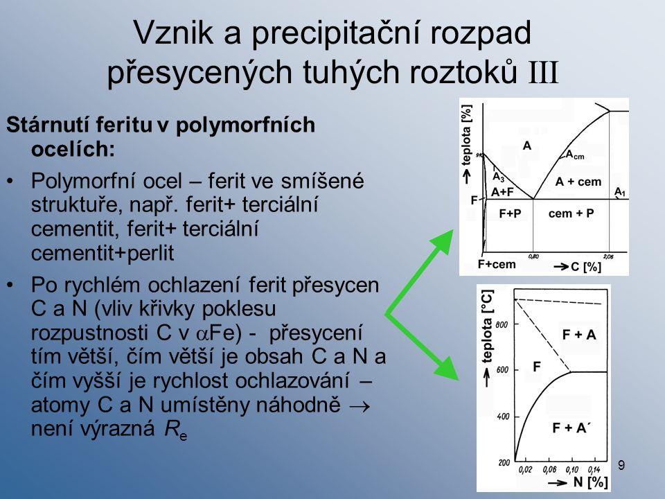 10 Vznik a precipitační rozpad přesycených tuhých roztoků IV Proces stárnutí přesyceného feritu:  Už za pokojové teploty – atomy C a N k poruchám (dislokacím) – Cottrellovy atmosféry  výrazná R e  Při vyšší teplotě a delší době - další hromadění atomů C a N – nehomogenní tuhý roztok – vznik přechodných koherentních precipitátů Fe 2,4 C a Fe 16 N 2  růst R m, R e, HB; pokles A, Z  Při dalším zvýšení teploty a doby - ztráta koherence, vznik stabilních precipitátů Fe 3 C, Fe 4 N  opačná tendence změny vlastností Stárnutí feritu = nepříznivý jev, zvláště u ocelí do 0,2% C Stárnutí po zakalení; deformační stárnutí