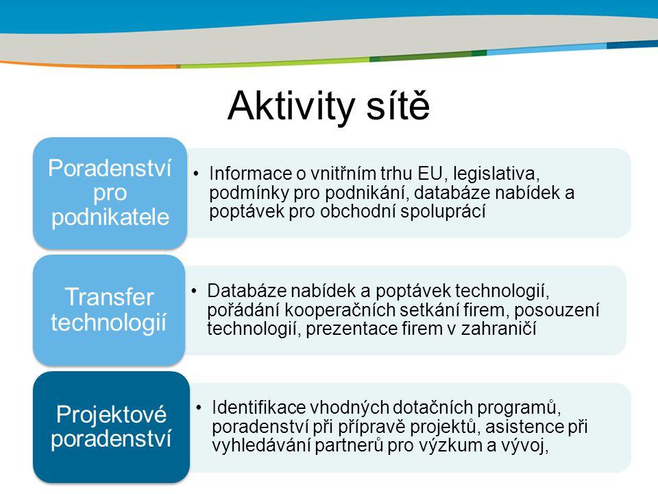 Aktivity sítě Informace o vnitřním trhu EU, legislativa, podmínky pro podnikání, databáze nabídek a poptávek pro obchodní spoluprácí Poradenství pro podnikatele Databáze nabídek a poptávek technologií, pořádání kooperačních setkání firem, posouzení technologií, prezentace firem v zahraničí Transfer technologií Identifikace vhodných dotačních programů, poradenství při přípravě projektů, asistence při vyhledávání partnerů pro výzkum a vývoj, Projektové poradenství