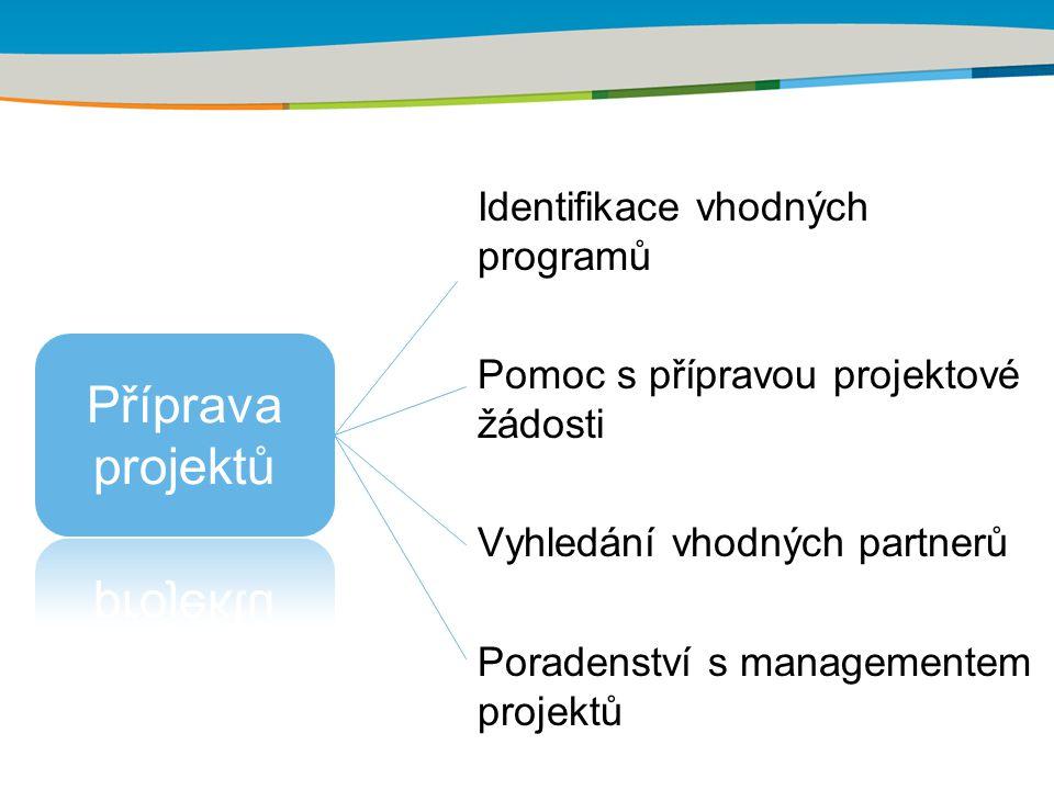 Identifikace vhodných programů Pomoc s přípravou projektové žádosti Vyhledání vhodných partnerů Poradenství s managementem projektů
