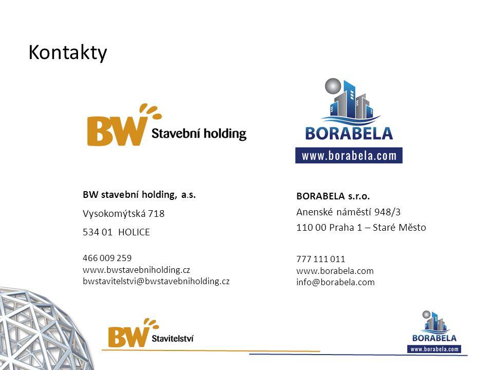 BW stavební holding, a.s. Vysokomýtská 718 534 01 HOLICE 466 009 259 www.bwstavebniholding.cz bwstavitelstvi@bwstavebniholding.cz BORABELA s.r.o. Anen