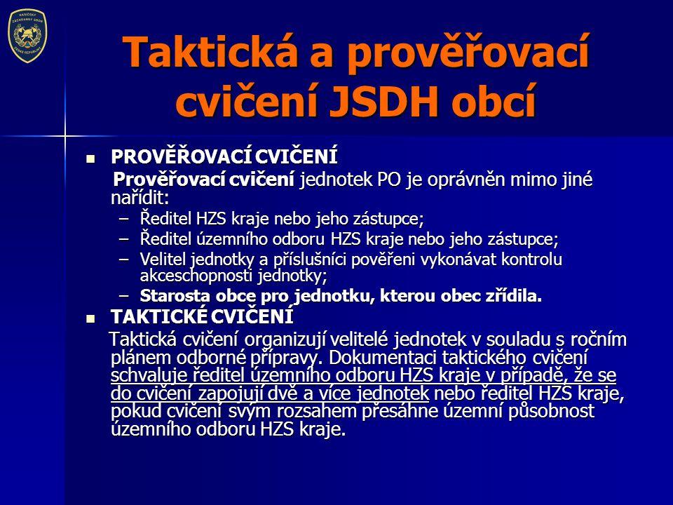 Taktická a prověřovací cvičení JSDH obcí PROVĚŘOVACÍ CVIČENÍ PROVĚŘOVACÍ CVIČENÍ Prověřovací cvičení jednotek PO je oprávněn mimo jiné nařídit: Prověř