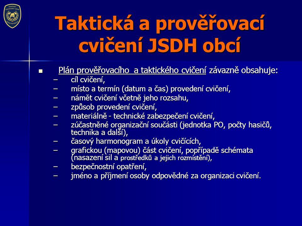 Taktická a prověřovací cvičení JSDH obcí Plán prověřovacího a taktického cvičení závazně obsahuje: Plán prověřovacího a taktického cvičení závazně obs