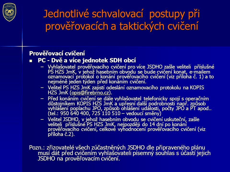 Jednotlivé schvalovací postupy při prověřovacích a taktických cvičení Prověřovací cvičení PC - Dvě a více jednotek SDH obcí PC - Dvě a více jednotek S