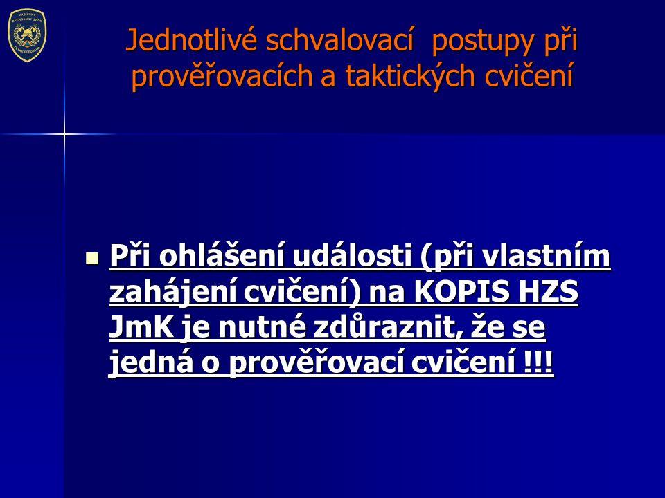 Jednotlivé schvalovací postupy při prověřovacích a taktických cvičení TC - Jedna jednotka SDH obce TC - Jedna jednotka SDH obce Nejpozději 14 dní před konáním taktického cvičení zašle vyhlašovatel cvičení oznamovací protokol na velitele příslušné požární stanice HZS JmK, ten zajistí jeho zaslání na KOPIS HZS JmK (opis@firebrno.cz).