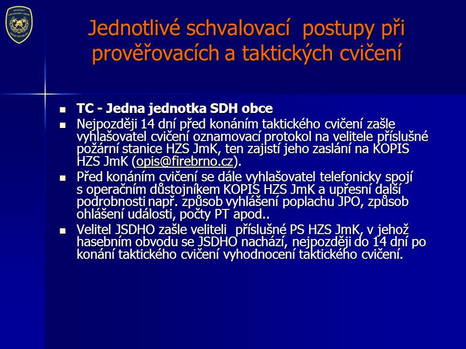 Jednotlivé schvalovací postupy při prověřovacích a taktických cvičení TC - Dvě a více jednotek SDH obcí TC - Dvě a více jednotek SDH obcí Plán taktického cvičení pro více JSDHO musí schvalovat ředitel územního odboru HZS JmK !!.