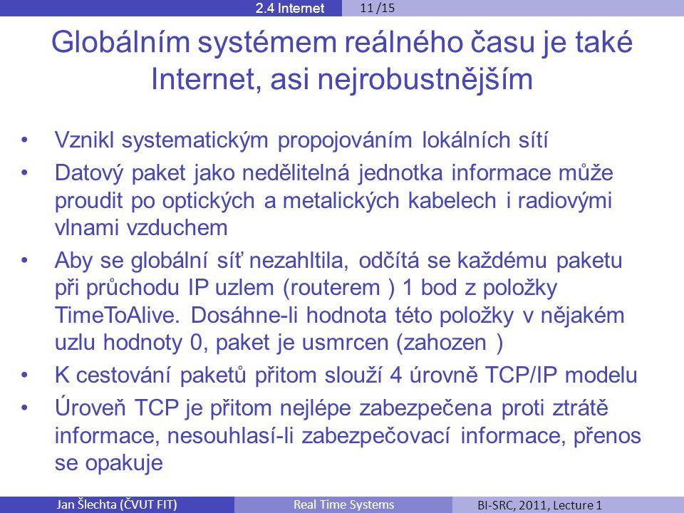 Jan Šlechta (ČVUT FIT)BI-SRC, 2011, Lecture 1Real Time Systems 2.4 Internet 11 /15 Globálním systémem reálného času je také Internet, asi nejrobustnějším Vznikl systematickým propojováním lokálních sítí Datový paket jako nedělitelná jednotka informace může proudit po optických a metalických kabelech i radiovými vlnami vzduchem Aby se globální síť nezahltila, odčítá se každému paketu při průchodu IP uzlem (routerem ) 1 bod z položky TimeToAlive.
