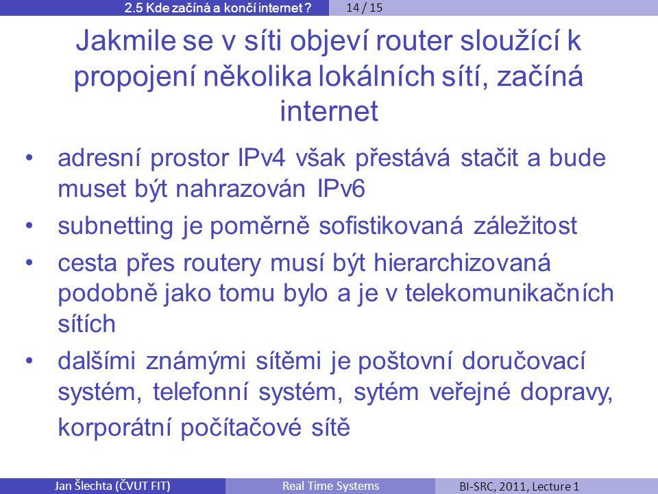 Jan Šlechta (ČVUT FIT)BI-SRC, 2011, Lecture 1Real Time Systems 2.5 Kde začíná a končí internet .