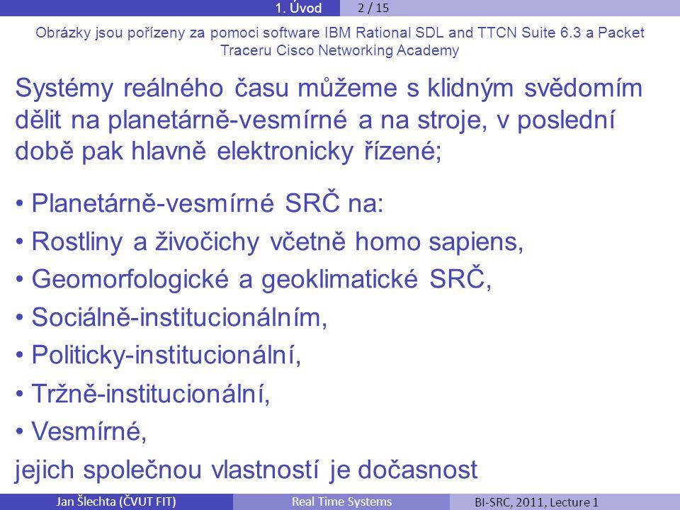 Jan Šlechta (ČVUT FIT)BI-SRC, 2011, Lecture 1Real Time Systems Obrázky jsou pořízeny za pomoci software IBM Rational SDL and TTCN Suite 6.3 a Packet T