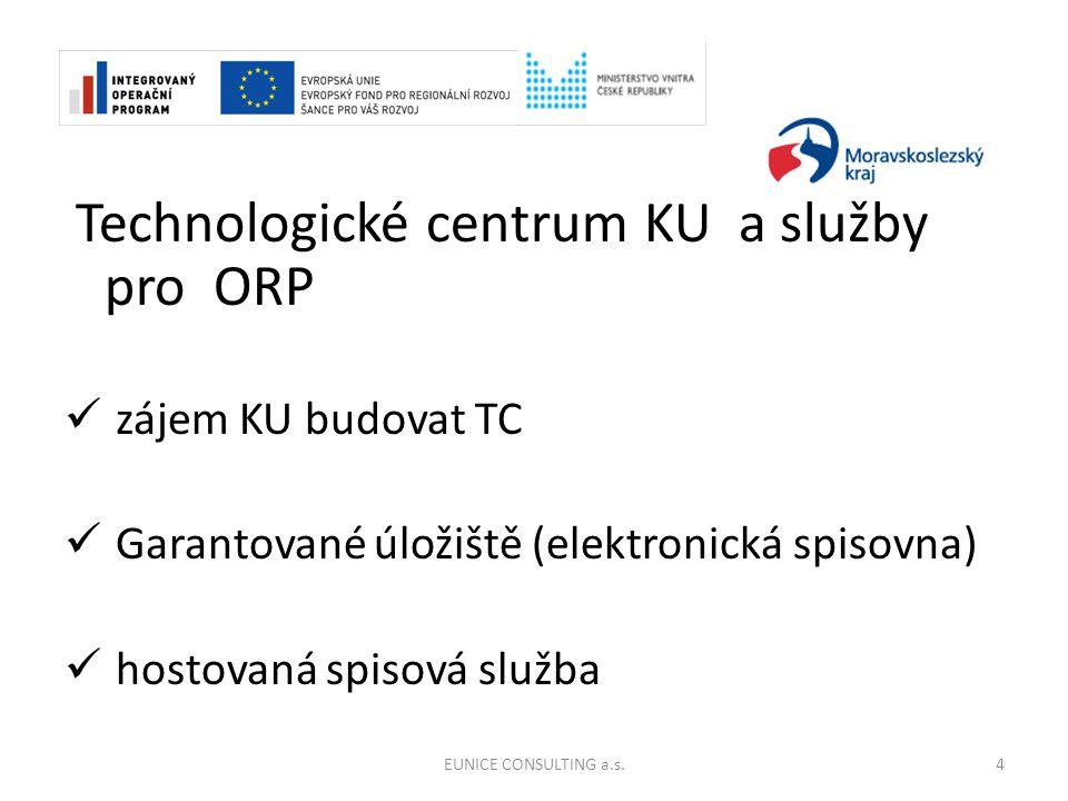 Technologické centrum KU a služby pro ORP zájem KU budovat TC Garantované úložiště (elektronická spisovna) hostovaná spisová služba 4EUNICE CONSULTING a.s.