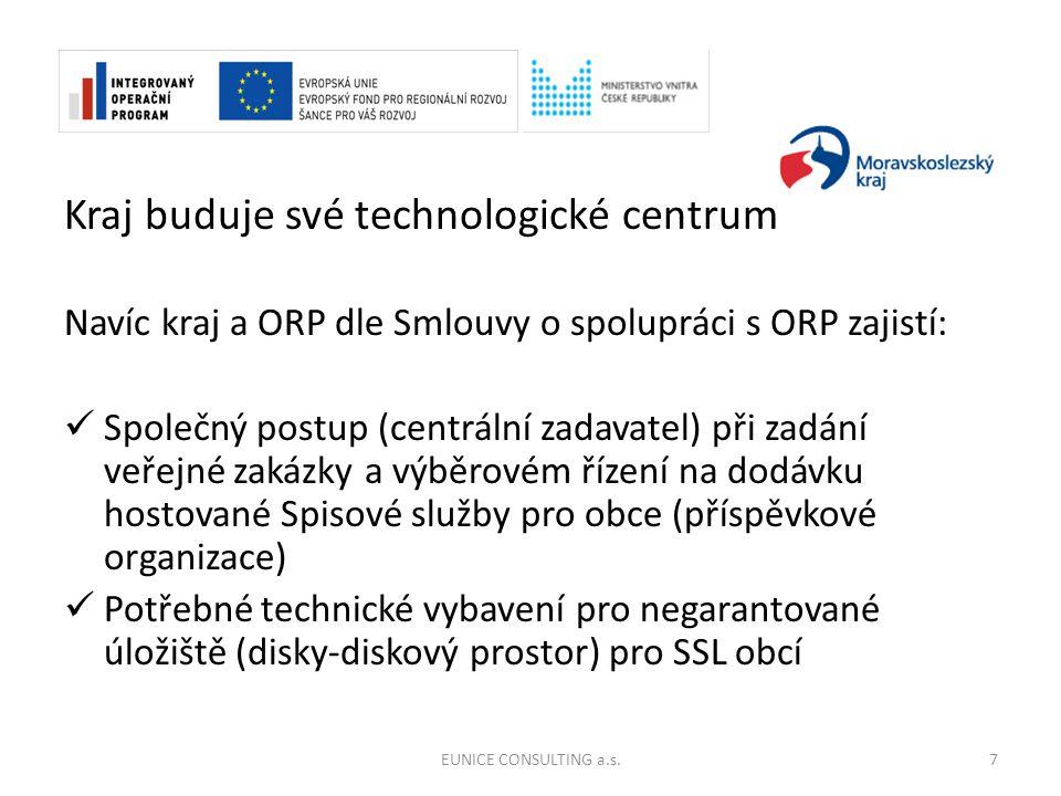 Kraj buduje své technologické centrum Navíc kraj a ORP dle Smlouvy o spolupráci s ORP zajistí: Společný postup (centrální zadavatel) při zadání veřejné zakázky a výběrovém řízení na dodávku hostované Spisové služby pro obce (příspěvkové organizace) Potřebné technické vybavení pro negarantované úložiště (disky-diskový prostor) pro SSL obcí EUNICE CONSULTING a.s.7