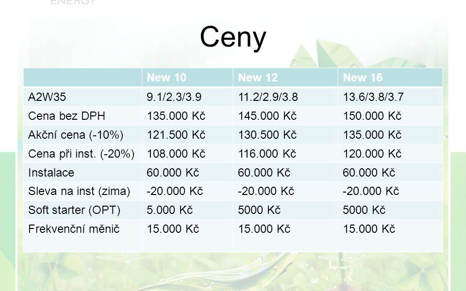 Ceny New 10New 12New 16 A2W359.1/2.3/3.911.2/2.9/3.813.6/3.8/3.7 Cena bez DPH135.000 Kč145.000 Kč150.000 Kč Akční cena (-10%)121.500 Kč130.500 Kč135.000 Kč Cena při inst.