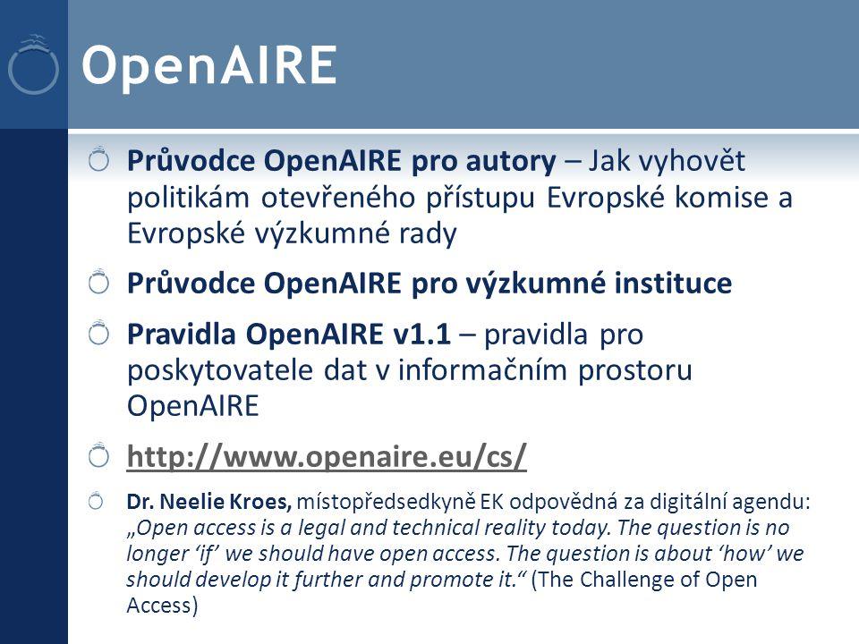 Průvodce OpenAIRE pro autory – Jak vyhovět politikám otevřeného přístupu Evropské komise a Evropské výzkumné rady Průvodce OpenAIRE pro výzkumné instituce Pravidla OpenAIRE v1.1 – pravidla pro poskytovatele dat v informačním prostoru OpenAIRE http://www.openaire.eu/cs/ Dr.